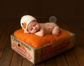 Chunky Hat with Pumpkin Applique - Newborn - Ready to Ship