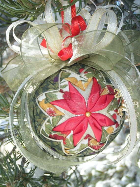 Easy no sew folded quilted flower christmas ornament pdf for Easy christmas crafts to sew