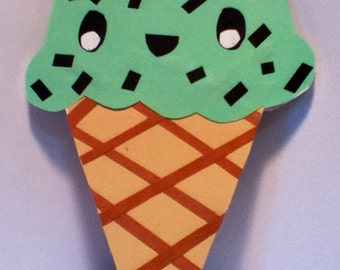Kawaii Ice Cream Cone Card With Face-Cardstock