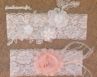 "The ""Clara"" Lace Garter Set  / bridal garter/ lace garter / toss garter / Something Blue wedding garter / vintage / Shabby Chic"