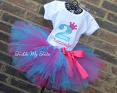 Diva Princess Number Crown Birthday Tutu Outfit-You choose your colors, Princess Party Tutu Set, Princess Crown Tutu Set