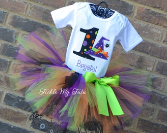 Birthday Wacky Witch Hat with Spider Halloween Tutu outfit-Witch and Spider Themed Halloween Birthday Tutu Set-Halloween Birthday Party Set