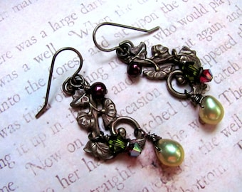 Green Pearl Earrings, Swarovski Earrings, Pearl Earrings, Dangle Earrings, Vintage Inspired Earrings, Victorian Earrings, Autumn Earrings