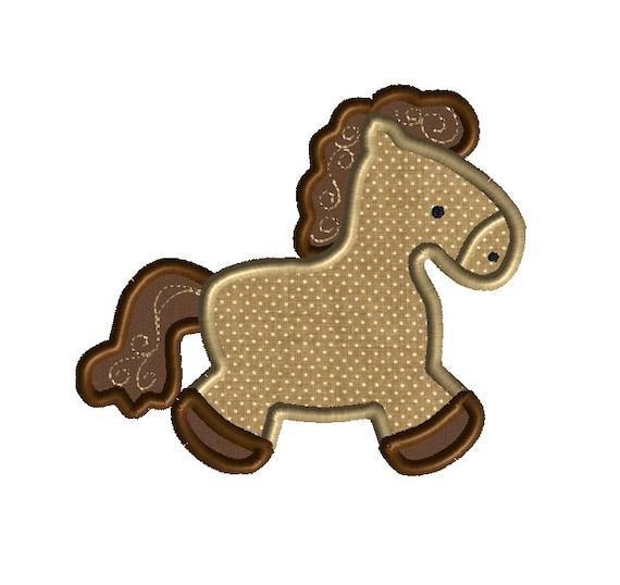 Horse applique machine embroidery design instand download