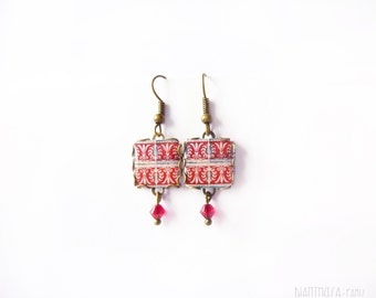 Floral tile Earrings with vintage drawings.Red, white. Herbal earrings. Arabesque.