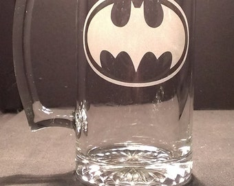 "Batman logo  ""PICK YOUR GLASS"" etched Glass"