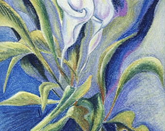 Calla Blue 1 (series of two) - Oil Pastel Painting On Paper by Snejana Videlova (not a print, but ORIGINAL)