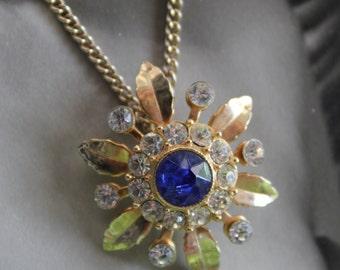 Sensational Circa 1950s rhinestone necklace with Sapphire Blue Center Rhinestone