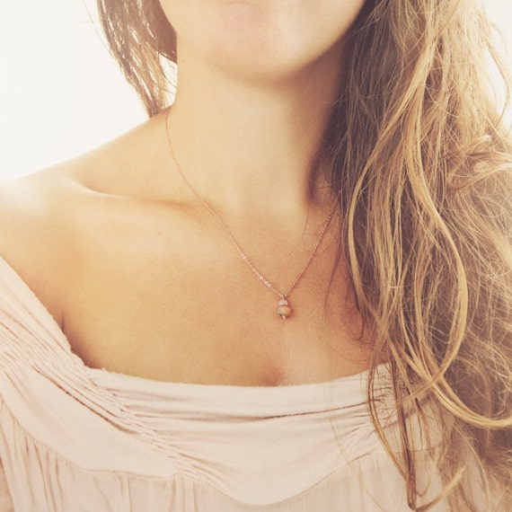 Dainty Rose Gold Necklace - Necklace & Earring Set