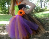 witch tutu dress  toddler costume with matching hat.