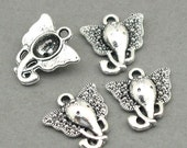 Elephant Head Charms Antique Silver 6pcs base metal beads 14X16mm CM0510S