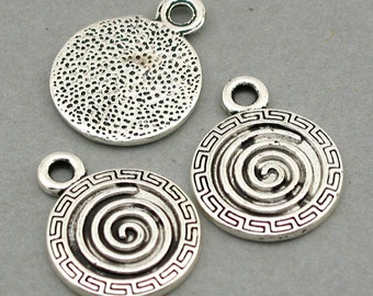 Scorll Disc Charms Antique Silver 6pcs pendant beads 18X22mm CM0138S