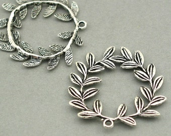 Leaf Wreath Charms Antique Silver 2pcs base metal beads 40mm CM0526S