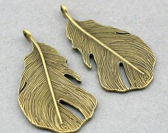 Feather Charms Antique Bronze 4pcs pendant beads 25X47mm CM0014B