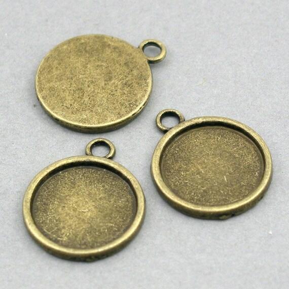 Round Disc Cameo Setting Antique Bronze 4pcs 18mm CM0091B
