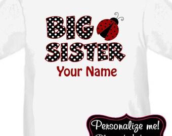 Big Sister Ladybug Red Personalized T Shirt