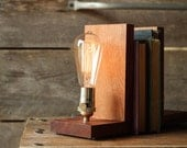 Signature Bookends Sapele Wood- Modern Bookends, Book Accessories, Solid Sapele, Edison Bulb Lamp - WorleysLighting