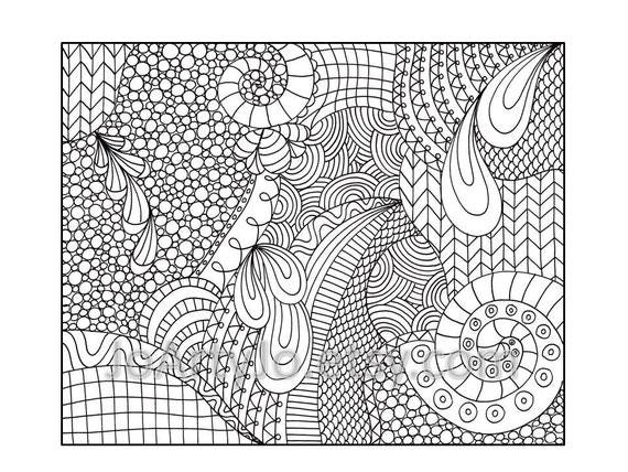 shelly beauchamp zen tangles coloring pages | Zentangle Inspired Coloring Page Printable PDF Zendoodle