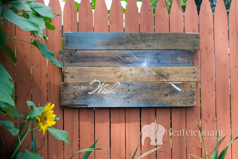 Pallet Art Dandelion Seed Make A Wish Wall Hanging Blue Wood