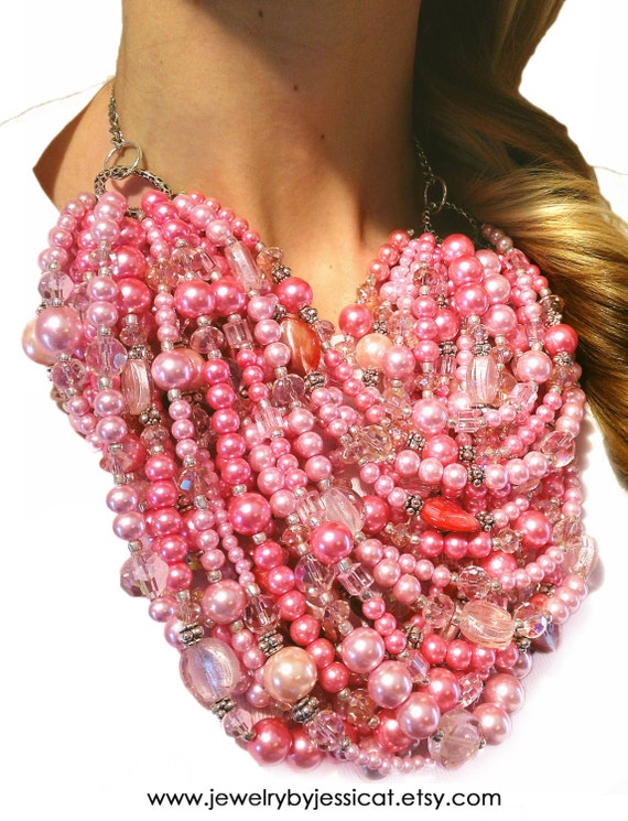 SUPER STATEMENT Necklace, Light Pink, Pink, Blush, Crystal, Sparkle, Beaded, Multi-strand, Statement, Pearls, Jewelry by Jessica Theresa