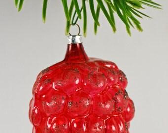 West Germany Pine Cone Ornament / Blown Glass Ornament in Fushia