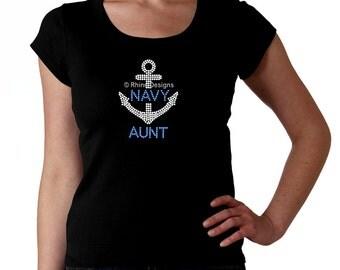Navy Aunt RHINESTONE t-shirt tank top sweatshirt -  S M L XL 2XL - Bling Naval Anchor Military Auntie Tia