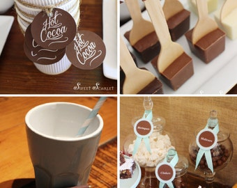 HOT COCOA BAR Printables - Cupcake Toppers, Party Signs, Candy Wrappers & more