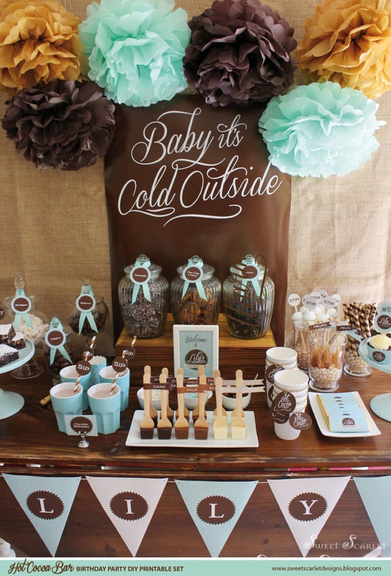HOT COCOA BAR Birthday Printable Party Set - Cupcake Toppers, Bunting Candy Wrappers & more