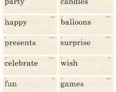 Vintage Style Birthday Flashcards Printable Digital Collage Sheet