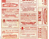 Vintage Medical Pharmacy Poison Labels Set 3 Printable Digital Collage Sheet