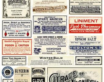 Vintage Medical Pharmacy Poison Labels Set 2 Printable Digital Collage Sheet