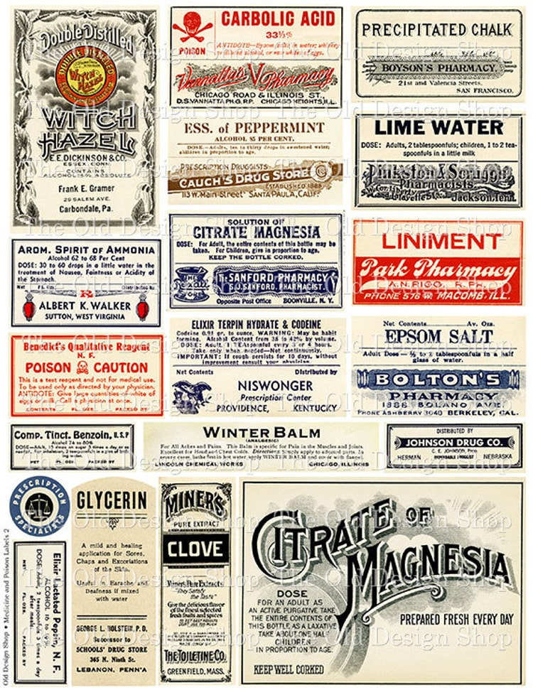 vintage medical pharmacy poison labels set 2 by