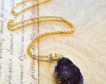 Sparkling Druzy Necklace - Druzy Jewelry - Agate Slice Necklace - Geode Druzy Necklace  Druzy Necklace