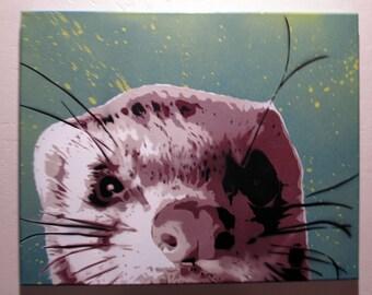 Spray Paint stencil graffiti art on canvas - Cute Ferret close up