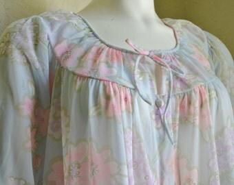 Vintage Vera Neumann Robe Formfit Rogers Signed Sheer Pastel Floral Pink Blue