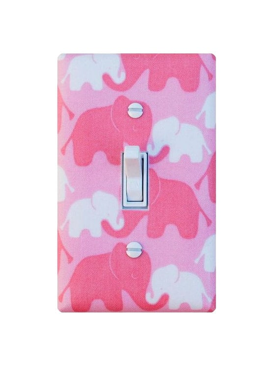 Pink Elephant Light Switch Plate Cover Nursery Decor Kids