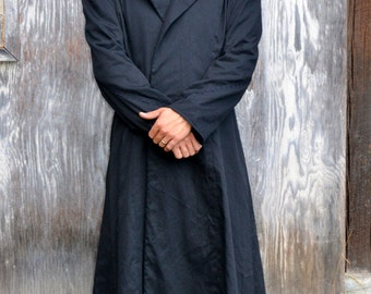 Gothic or Steampunk Gentlemens Overcoat, long, Black, size XL. Duster, Cassock, Ready to ship.