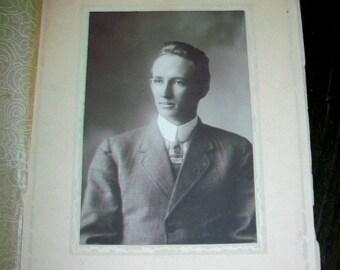 Vintage 1910s Photograph Edwardian Young Man 9.25 x 6.25