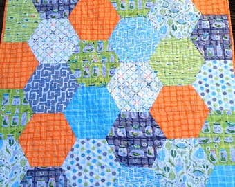 "Handmade Baby Boy ""Backyard Baby"" Reversible quilt Bug Jars Modern Hexagon"