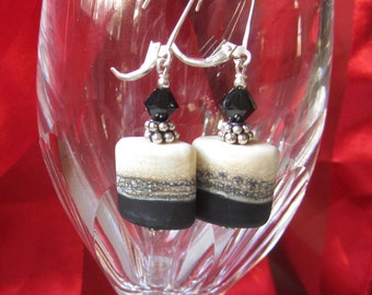 Classic Black and Cream Earrings in Lamp Work Squares on Sterling Lever Backs, Neutral Artisan Bead Earrings, Casual, Dressy, Timeless, Gift