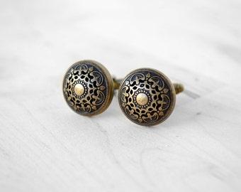 Cufflinks Cuff Links Mens Gift Anniversary Boho Wedding Victorian Brass Shield Filigree