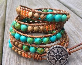 Western Turquoise leather wrap bracelet with peach czech glass and jasper gemstones 5X