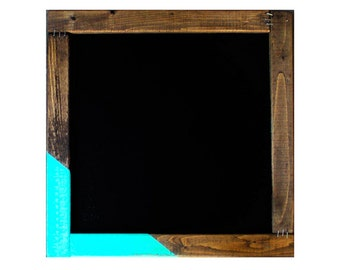 Chalkboard // Large Rustic Wood Framed Chalkboard // Eco-Friendly Gift Reclaimed Wood // Turquoise Stripes // Sign Wedding Home Decor Menu