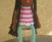 Crochet African American Plush Vegan Doll Black Braids Glasses Pink Green Stripes Stuffed Toy Baby Girl Kids Children Gift, MADE TO ORDER