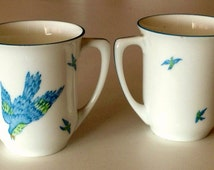 Early Antique Set of 2 Beautiful Matching Prussia Royal Rudolstadt Blue Bird / Swallow Tea Cups