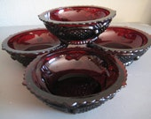 Dark Red Small Dessert Bowls / Set of Four Candy Dish Bowls/ Collectible Avon Cape Cod Bowls
