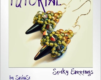 Spiky Earrings Beading Tutorial DOWNLOAD - Step-by-Step Beading instructions - PDF