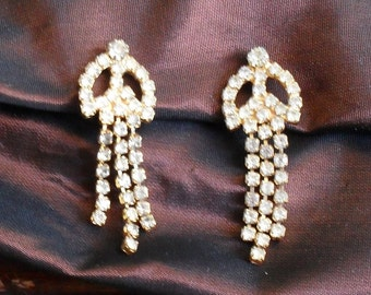 Rhinestone Earrings Dangle Gold Plated Art Deco Jewelry Clip On Vintage Sale