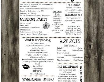 Printable Wedding Program - Customizable