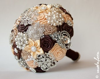 Brooch Bouquet. Сhocolate Fabric Bouquet, Unique Wedding Bridal Bouquet